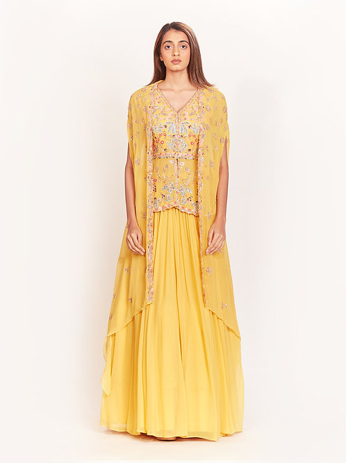 Yellow Embroidered Peplum With Cape Jacket And Skirt