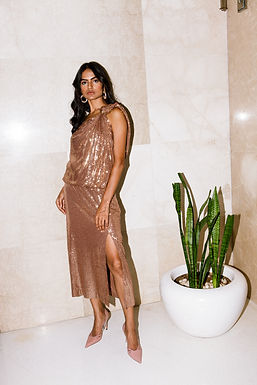 Bronze One Shoulder Midi Dress