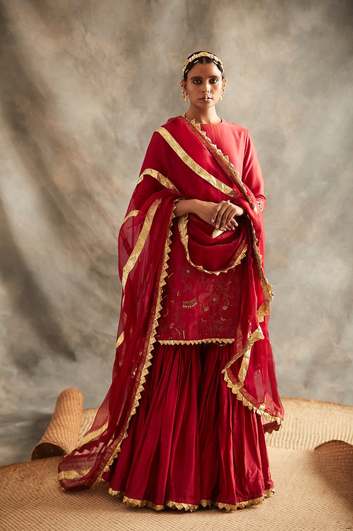 Red And Gold Sharara Set