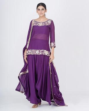 Purple Misarana Short Kurta Set