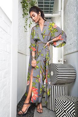Grey Kaftan Saree Wrap Dress