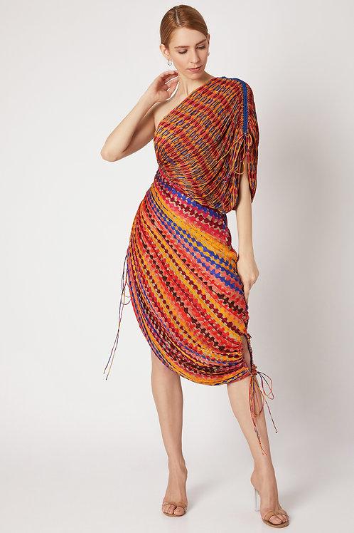Multi Color Dual Print Saree Dress