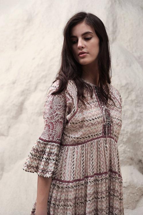 Ivory Jacquard Stripe Print Dress