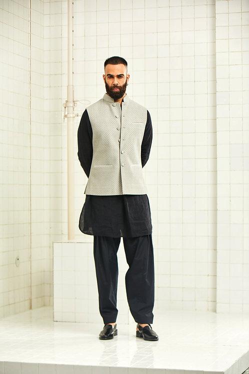 Grey Dhadhu Block Print Quilted Waistcoat