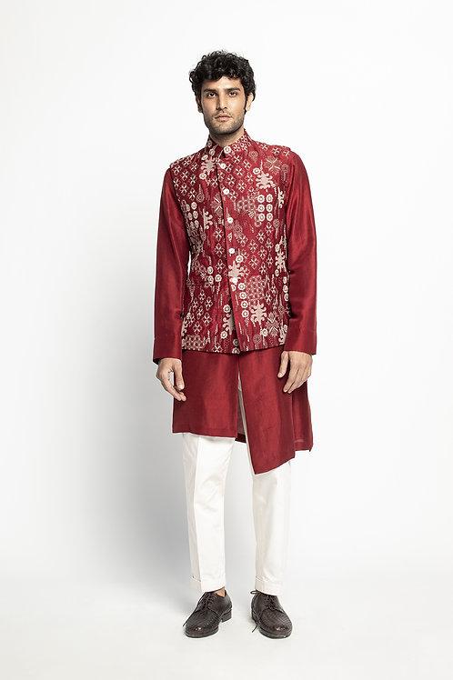 Red Kantha Sadri Set