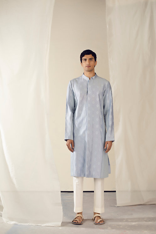Blue Front Open Kurta