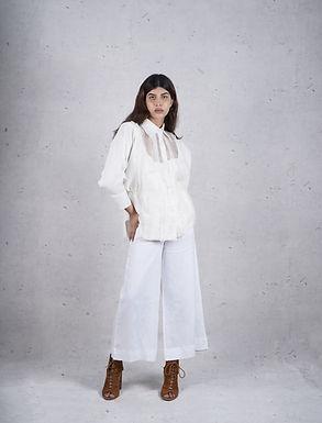 Paneled White Shirt