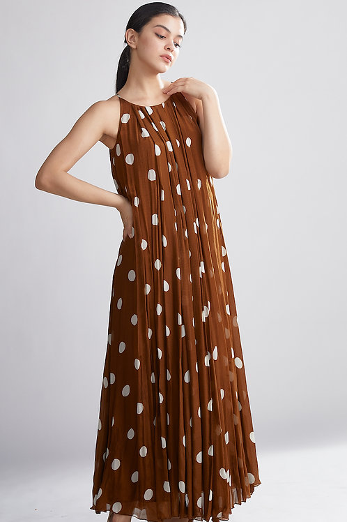 Brown And Cream Polka Pleated Dress