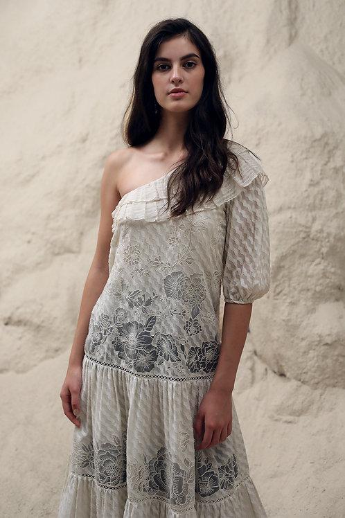 Ivory Floral Line Tier Dress