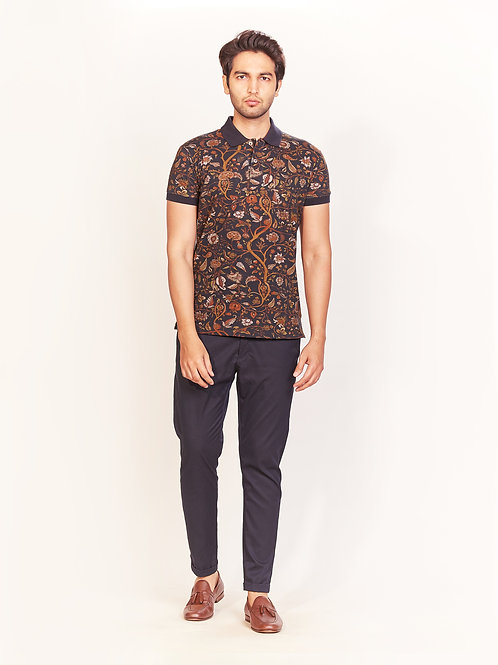 Black Floral Digital Print Collar T-Shirt