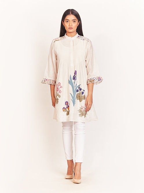 Ivory Floral Embroidered Tunic With Frill Sleeves