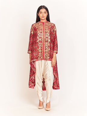 Magenta Embellished High-Low Tunic With Dhoti Pants