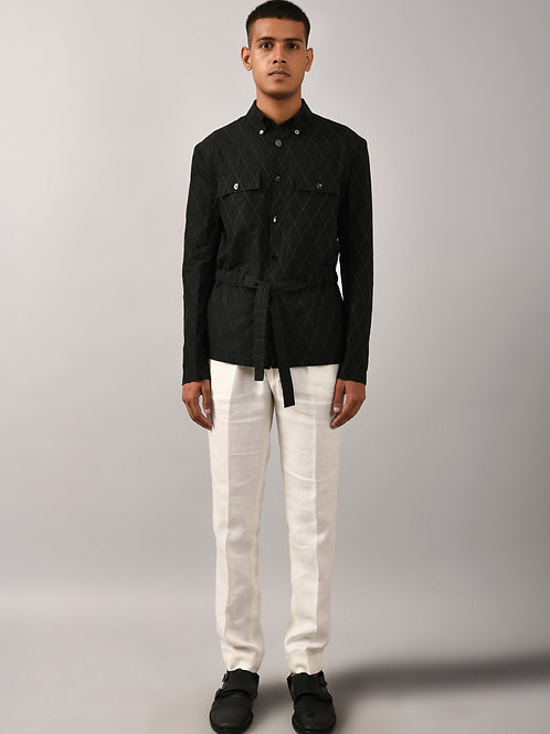 Black Diamond Drawstring Shirt Jacket