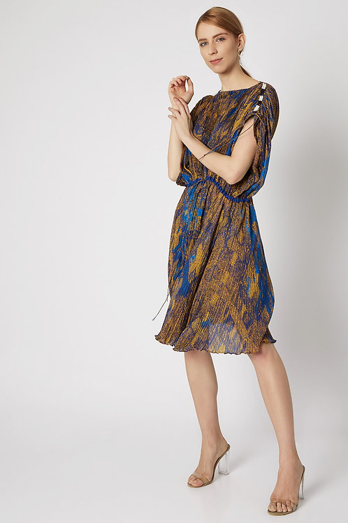 Blue And Yellow Printed Dress