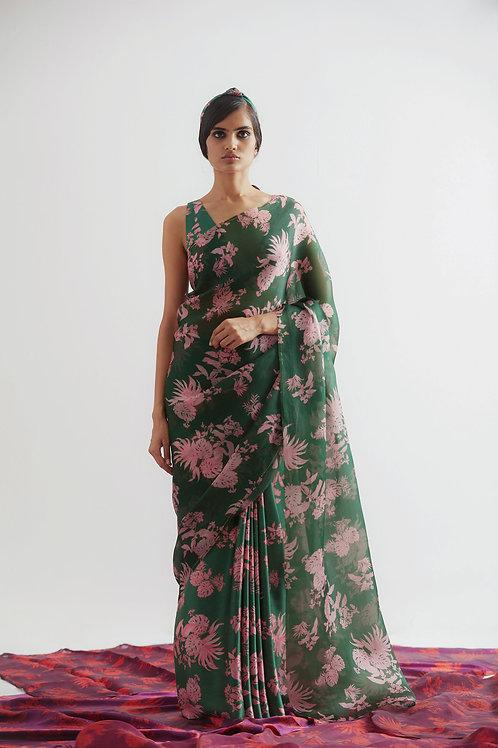 Green Bentota Print Organza Saree
