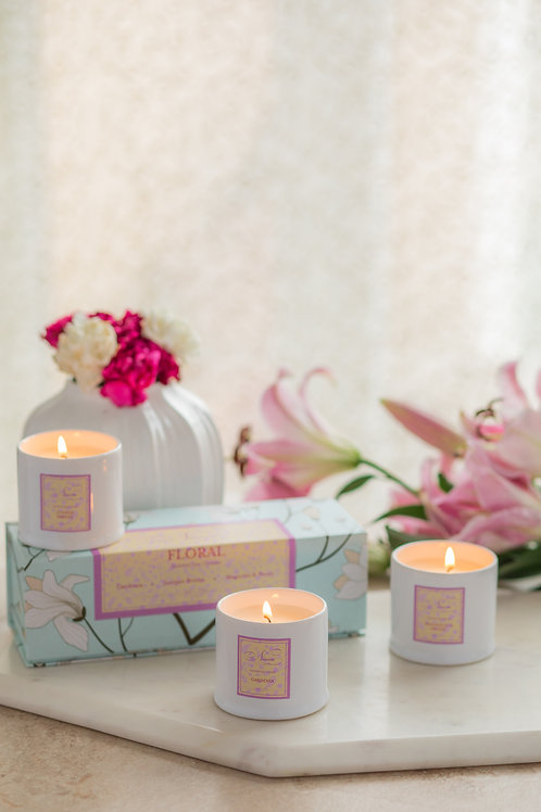 Floral Set of 3 Candle