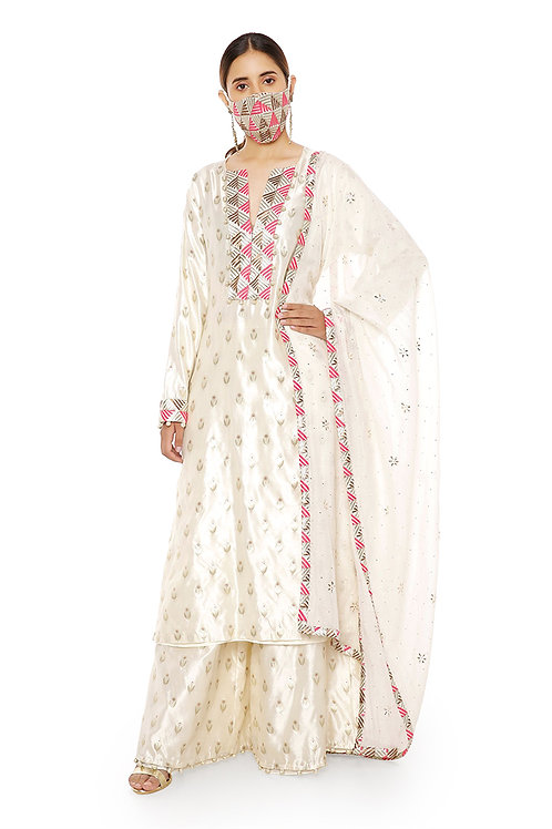 Cream Banarasi Silk Kurta Set