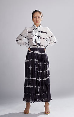 Black And White Shibori Pleated Pants