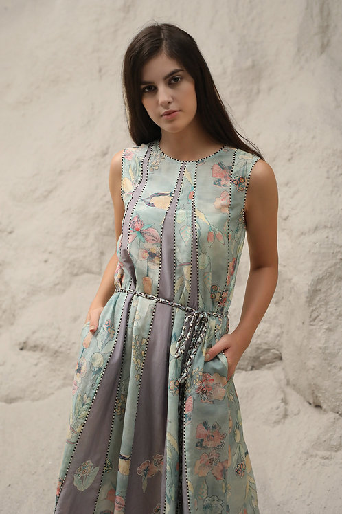 Blue Windflower Print Dress