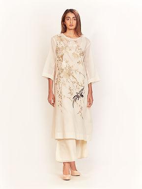 Ecru Aari Embroidered Dress