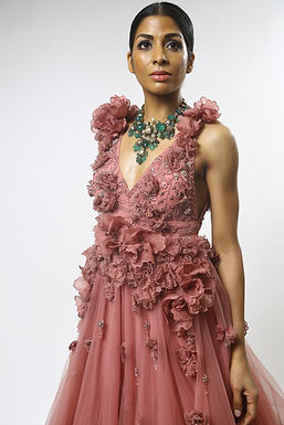 Rose 3D Floral Embroidered Gown