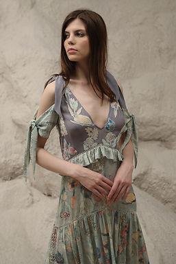 Blue Windflower Print Tier Dress