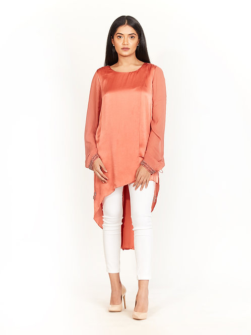 Terracotta Embellished High-Low Tunic