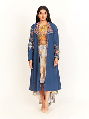 Blue Hand Embroidered Long Jacket