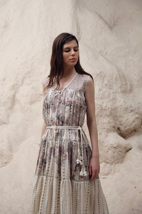 Ivory Mosaic Floral Print Tier Dress