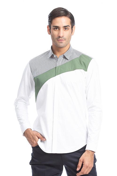 White Colour Block Shirt