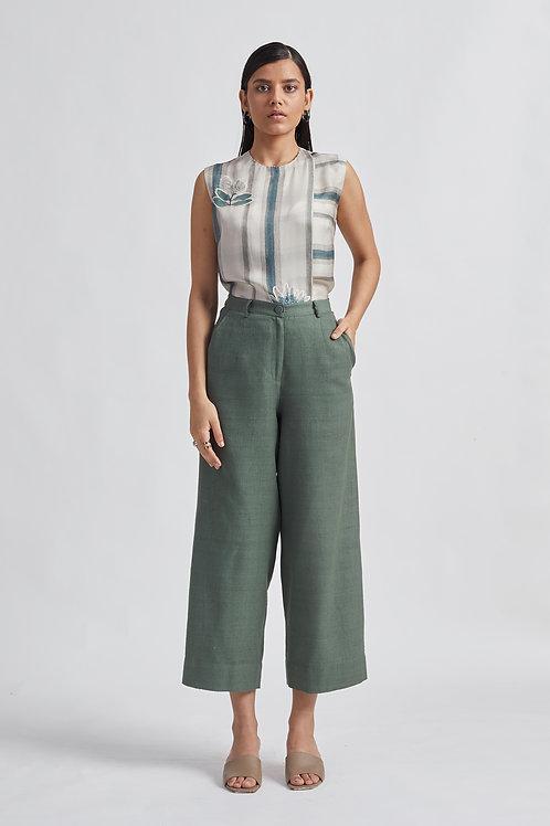 Washed Green Dhagai Trouser