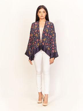 Navy Spring Print Kimono Jacket