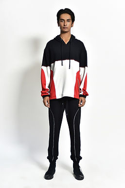 Black , Red and White Tri Colour Hoodie