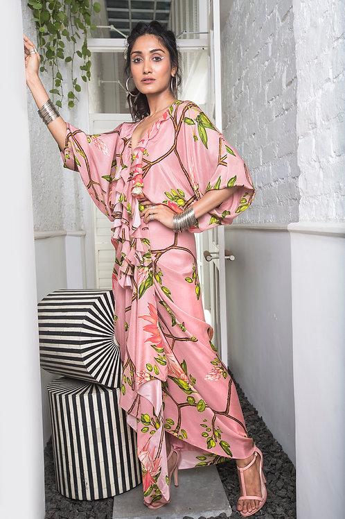 Pink Ruffle Neckline Wrap Dress