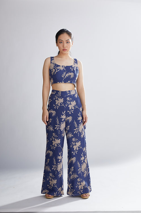 Blue And Peach Floral Pants