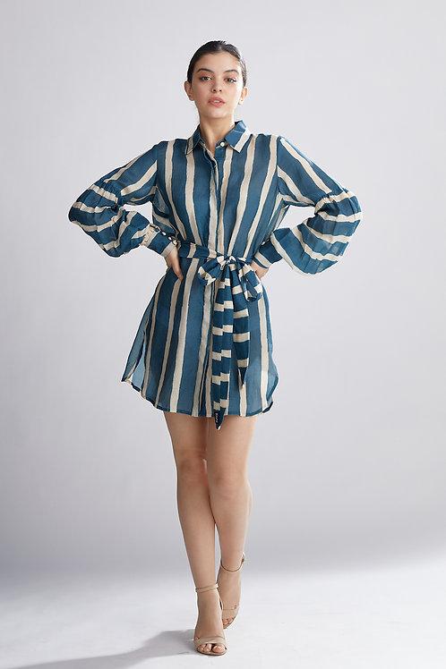 Teal And Cream Stripe Shirt Dress