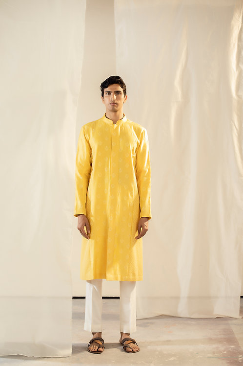 Yellow Front Open Kurta