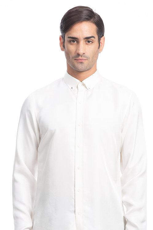 White Metal Button Down Shirt