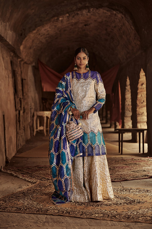 Peacock Blue And Silver Eliza Chandi Sharara Set