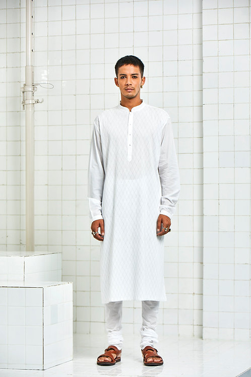 White Khichan Pintuck Topstitch Kurta Set