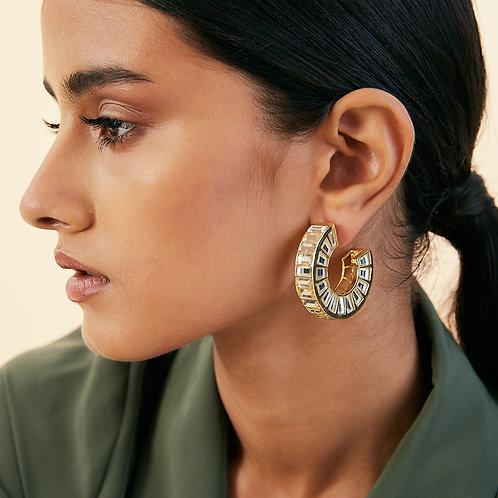 Gold Prism Mirror Hoop Earrings