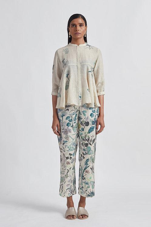 Ivory Blossom Satin Trouser