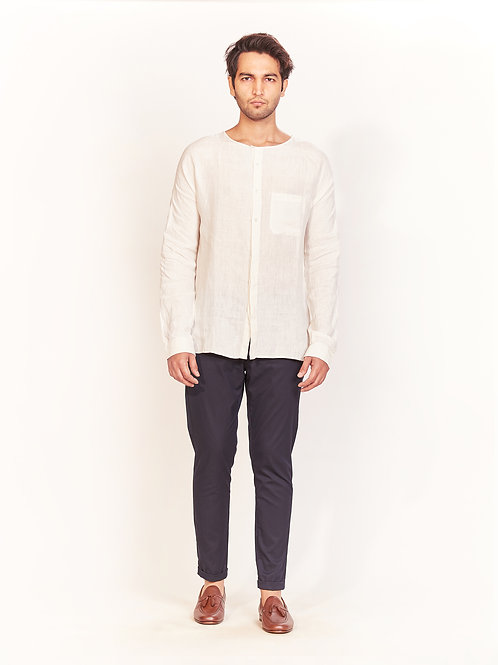 Ecru Round Neck Linen Shirt