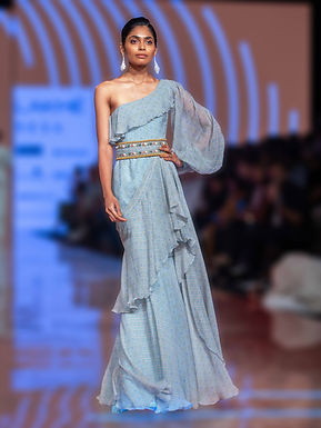 Powder Blue One Shoulder Maxi Dress