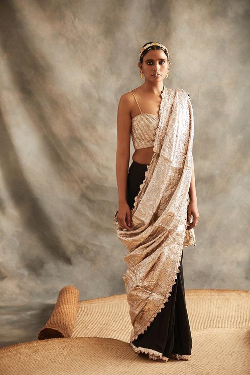 Black Saree With Silver Palla