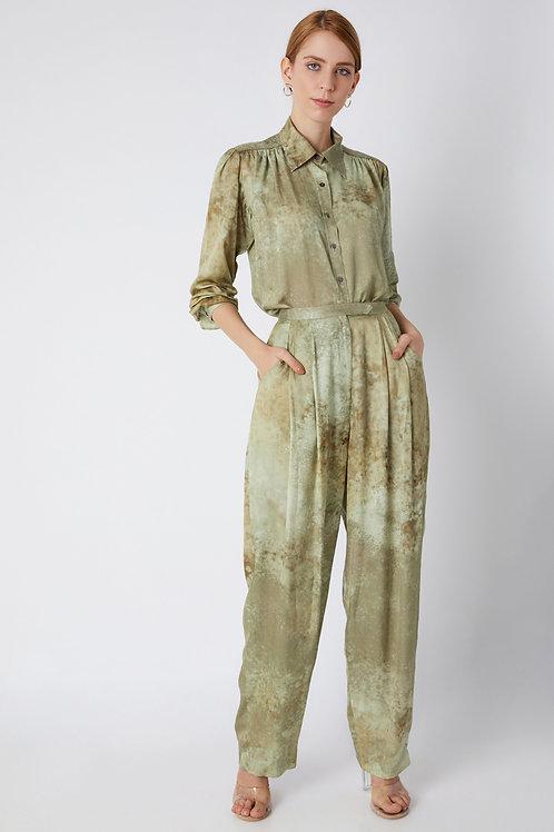 Khaki Printed Trouser