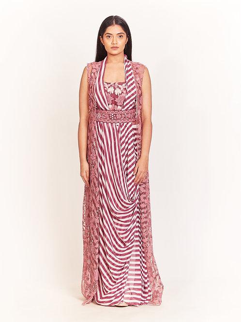 Wine Embellished Long Jacket With Drape Saree Set