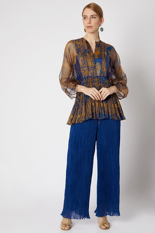 Blue And Yellow Printed Blouse