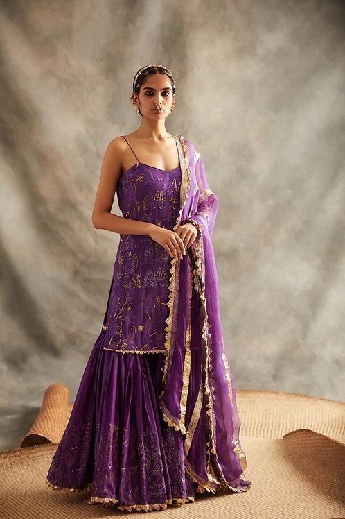 Purple Short Kurta And Sharara Set