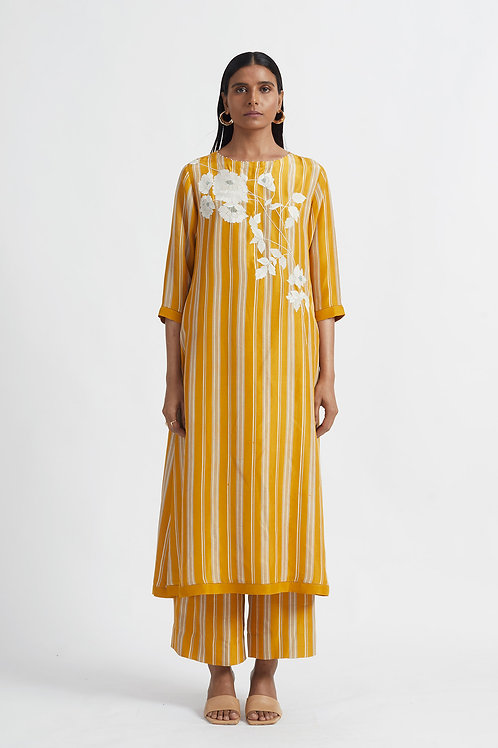 Yellow Bamboo Stripe Kurta Set